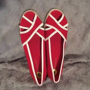 New red and white espadrilles